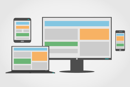 adaptive: Icon set of adaptive and responsive web design on different devices  Illustration