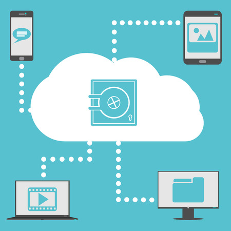 confidentiality: Concept of safe cloud computing with smartphone, tablet, laptop and PC monitor  Illustration