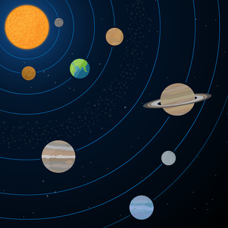 Realistic illustration of solar system with sun and planets on the space background