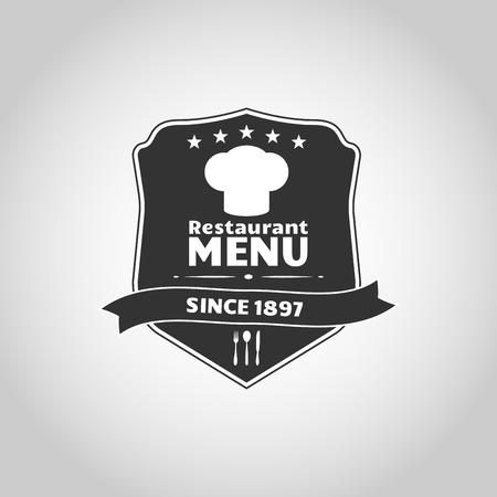 toque: Shield with chef cap and ribbon for restaurant menu emblem  Illustration