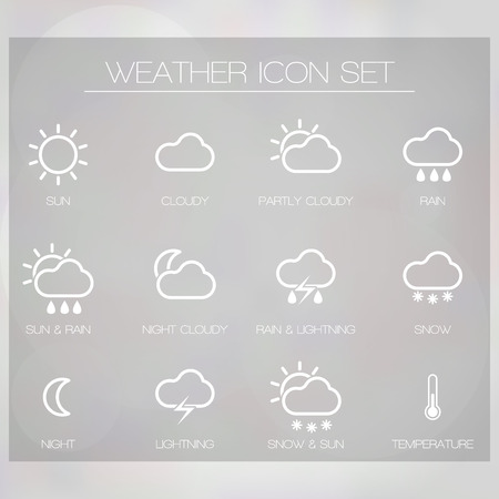 widget: Vector weather icons set for forecasting site or applications and widget  Illustration