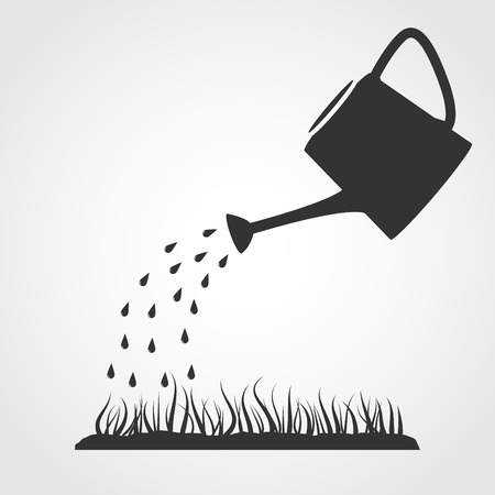 grey water: Dark grey watering can sprays water drops above lawn  Illustration