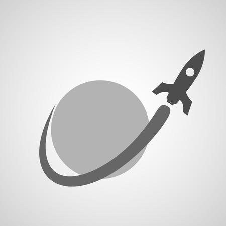 Simple icon in black color of space rocket flying near planet.