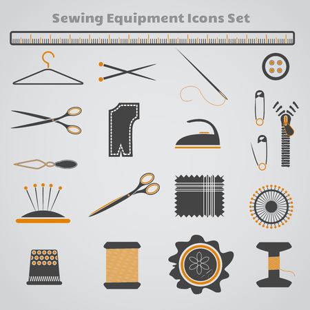 Set of dark gray, black and yellow sewing icons. Vector