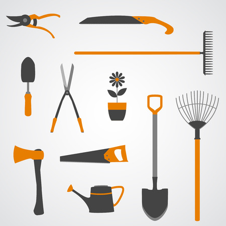 Set of yellow and grey vector icons of garden tools.  Vector