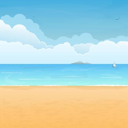 Plage de sable tropicale, bateau en mer, l'île de la montagne à l'horizon et les nuages ??sur fond Banque d'images - 29421473