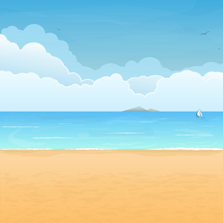 Tropical sand beach, boat in sea, mountain island on horizon and clouds on background Illustration