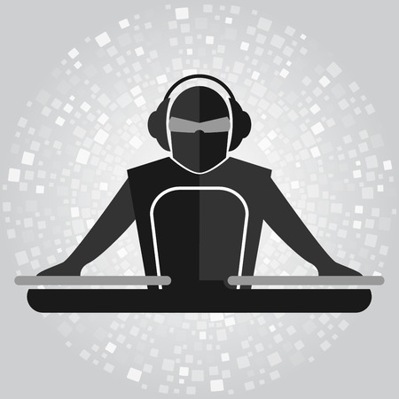 Simple emblem of DJ with mixer in gray colors. Vector