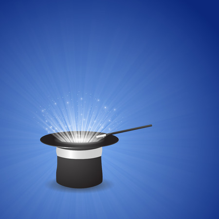 Magic hat with rays, star dust, center glow and magic wand on blue background. Vector