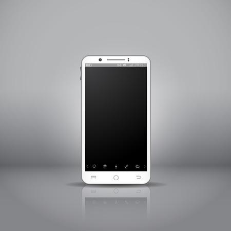 sistema operativo: Smartphone m�vil negro con pantalla t�ctil y la interfaz del sistema operativo, en el showroom.