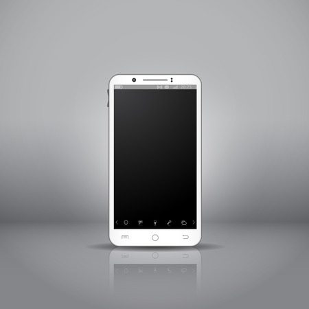 White mobile smartphone with touchpad and os interface, in showroom. Vector