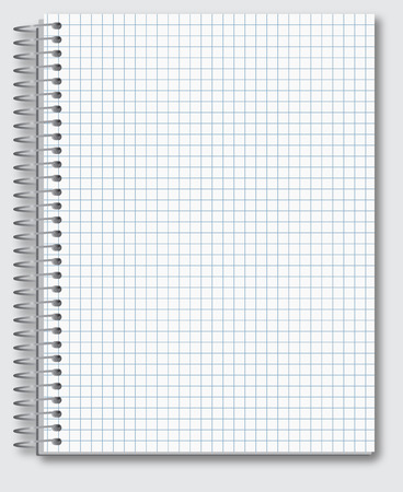 blank book cover: Vector template of spiral realistic math notebook.