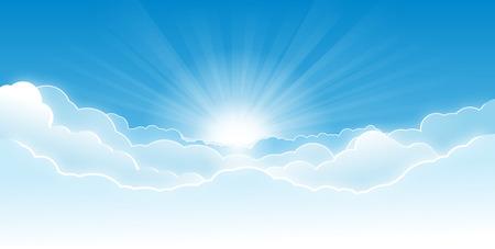 Cielo de la mañana con las nubes que brillan intensamente y sol naciente con rayos.