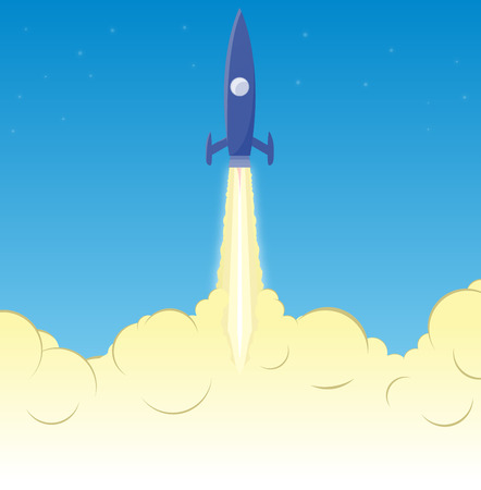 rocket launch: Blue rocket take off and flying up through the exhaust smoke to stars. Illustration