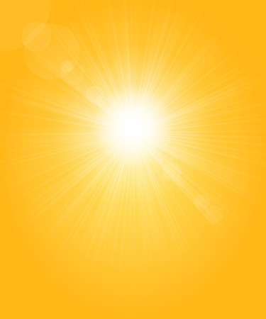 rise and shine: Golden background with glowing sun, rays and glares.