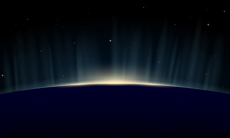 Horizontal poster of rising sun on Earth. View from space, with aurora glowing on horizon. Illustration