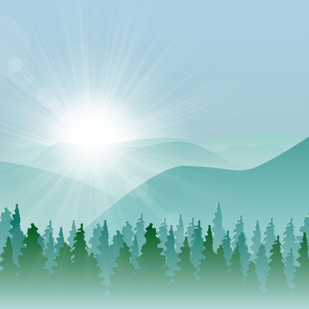 Forest background with fir trees and mountains, and morning sun with rays.