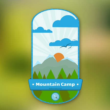 Vertical badge with mountain, pin trees and scroll. Vector