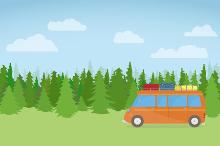 Family bus, traveling on nature