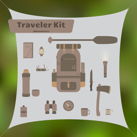 Travel kit with backpack and other survival and camping stuff. Vector