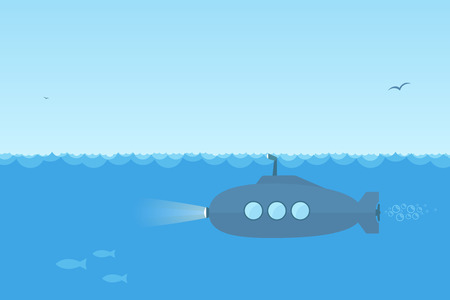 Flat, simple blue submarine swimming under the ocean with periscope. Vector