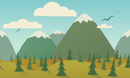 Horizontally seamless nature background. Mountains, hills, trees, meadow and birds.