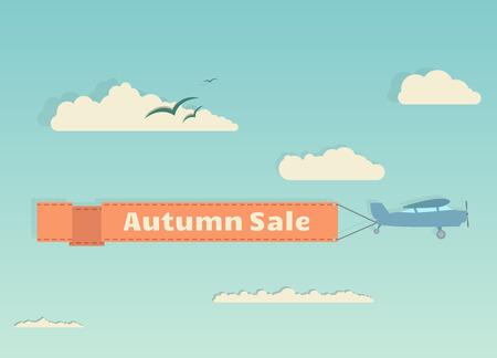 reise retro: Cartoon Flugzeug mit Banner fliegen unter Himmel und Wolken. Herbst-Verkauf Banner.