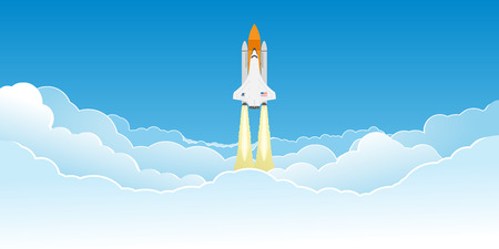 mosca caricatura: Transbordador espacial realista volando en las nubes despu�s de su lanzamiento.