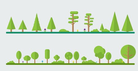 Set of different cartoon flora in flat design. Flowers, bushes, trees.