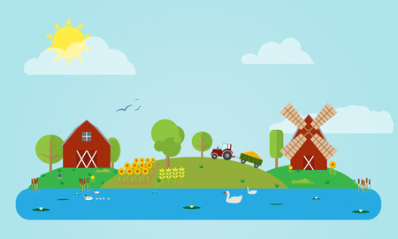 Flat rural countryside vector illustration with barn, windmill, tractor, field of sunflowers and corn, river. Different flat icons of trees, grass, flowers. Vector
