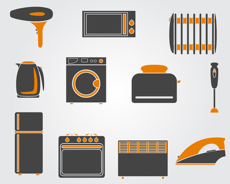 warmer: Set of simple kitchen icons in yellow and black colors. Illustration