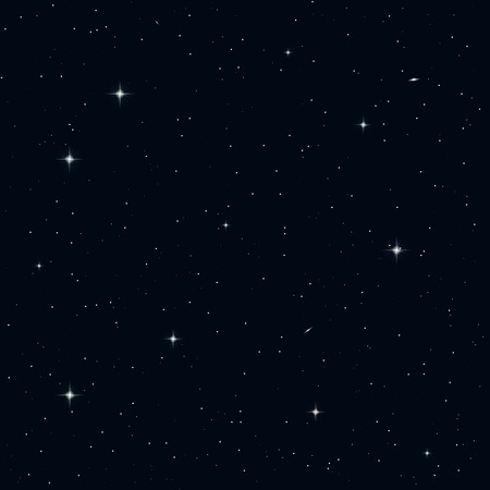 Realistic seamless vector image of the night sky with stars and galaxies.