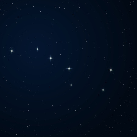dipper: Realistic vector image of constellation Ursa major on the night sky. Illustration
