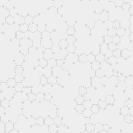 Seamless simple science gray background. Schematic molecules bond together.