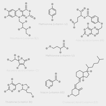 nutrients: Skeletal formulas of some vitamins. Schematic image of chemical organic molecules, nutrients.