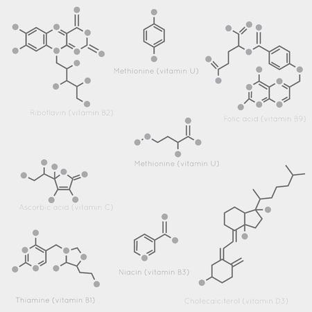 witaminy: Szkieletowe formuły niektórych witamin. Schematyczny obraz chemicznych cząsteczek organicznych, składników odżywczych. Ilustracja