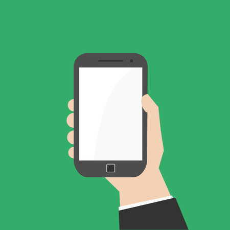 mobile phone screen: Simple, flat hand holding vertically smartphone or phablet.