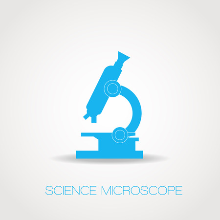 microscope lens: Realistic azure outline icon of optical microscope.