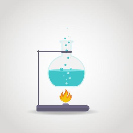 Chemistry tube with blue liquid on lab burner.