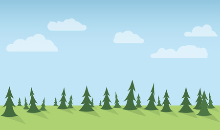 Simple vertical seamless forest background with clouds.