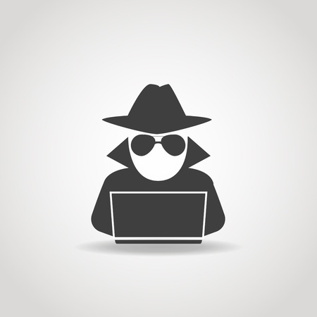 computer hacker: Black icon of anonymous spy agent searching on laptop.