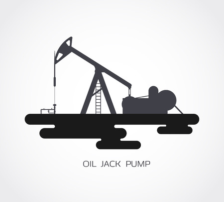 jack pump: Black silhouette of working oil jack pump.