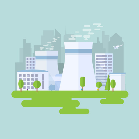 Green nuclear power plant. City buildings and skyscrapers on background. Flat vector illustration. Vector