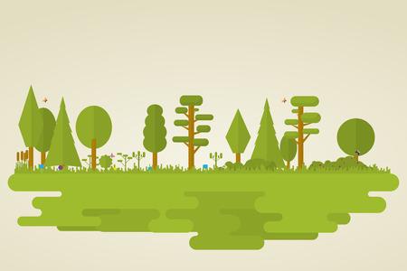Flat set of forest vegetation. Trees, grass, bushes, butterflies. Vettoriali