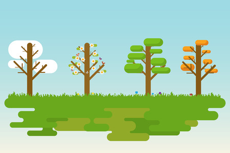 Flat and simple illustration of four season trees. Vector