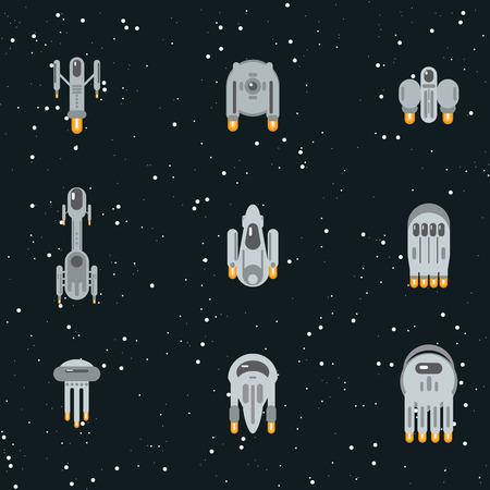 warp: Flat sci-fi futuristic alien spaceships, flying through cosmos with warp engines.