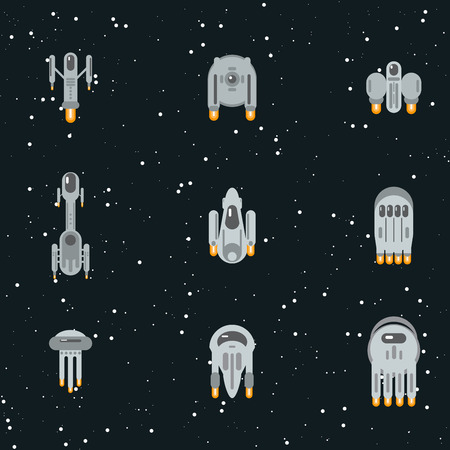 raumschiff: Wohnung Science-Fiction-futuristische fremde Raumschiffe, fliegen durch Kosmos mit Warpantrieb. Illustration