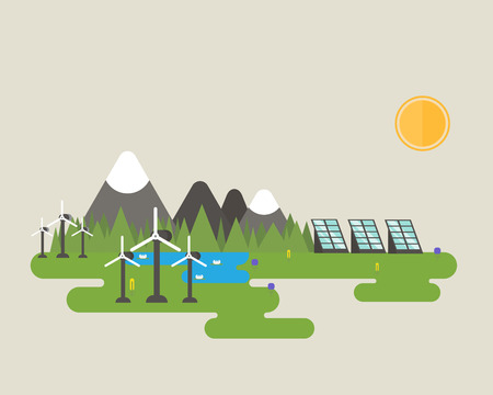 solar wind: Flat vector design of green energy systems like solar panel and wind turbine near the mountains, lake and forest.