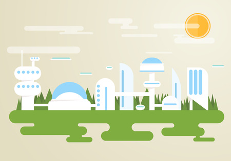 future city: Futuristic city with white buildings and houses. Forest on background, clouds and flying cars in the sky. Illustration