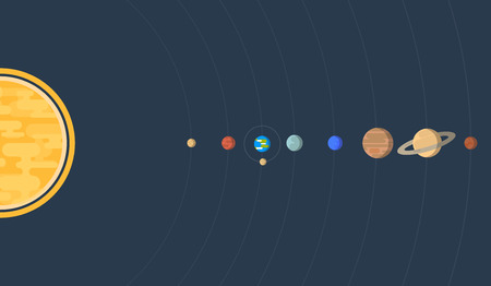 empty space: Flat horizontal illustration of our Solar system with all eight planets Earth Moon and orbits. Illustration